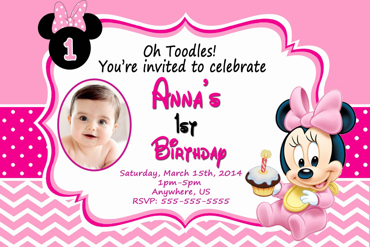 Minnie Mouse Birthday Invitations Beautiful Baby Minnie Mouse 1st Birthday Invitations