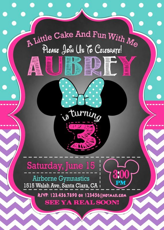 Minnie Mouse Birthday Invitations Beautiful Minnie Mouse Invitation 3rd Birthday Invitation Minnie