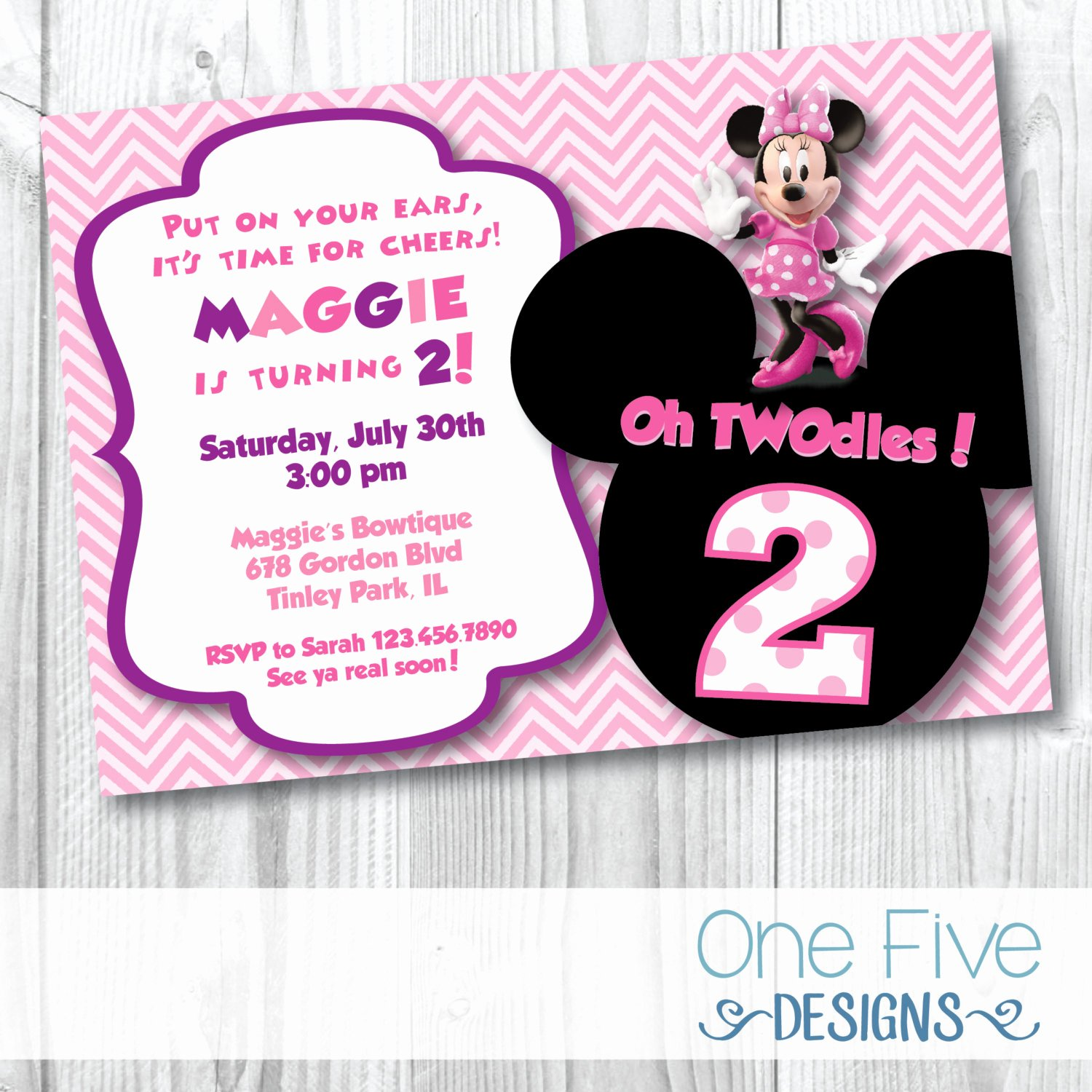 Minnie Mouse Birthday Invitations Beautiful Minnie Mouse Oh Twodles Birthday Party Invitation