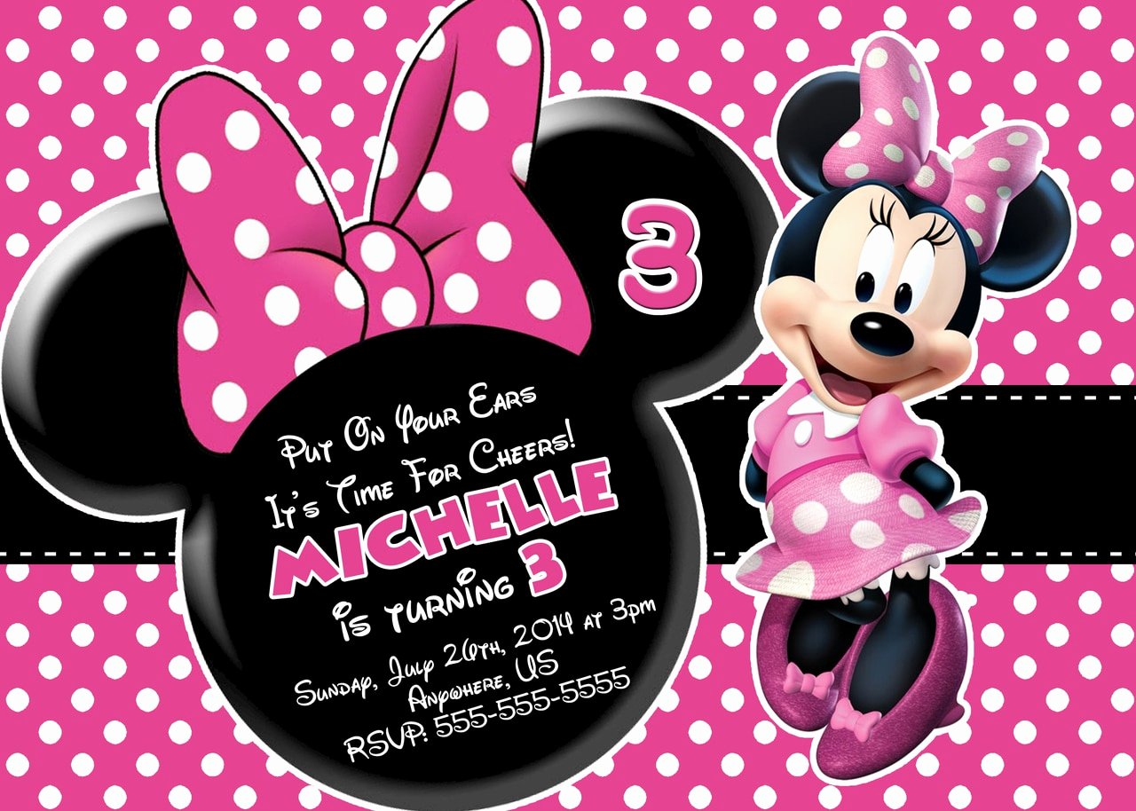 Minnie Mouse Birthday Invitations Beautiful Pink Minnie Mouse Birthday Invitations