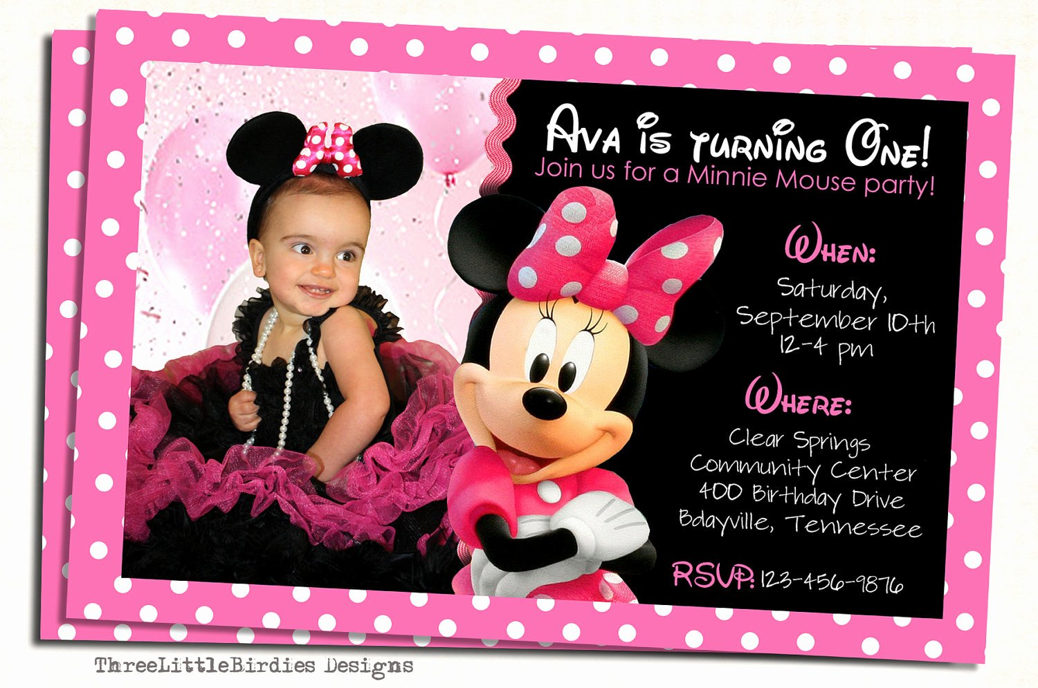 Minnie Mouse Birthday Invitations Best Of Minnie Mouse Birthday Invitation
