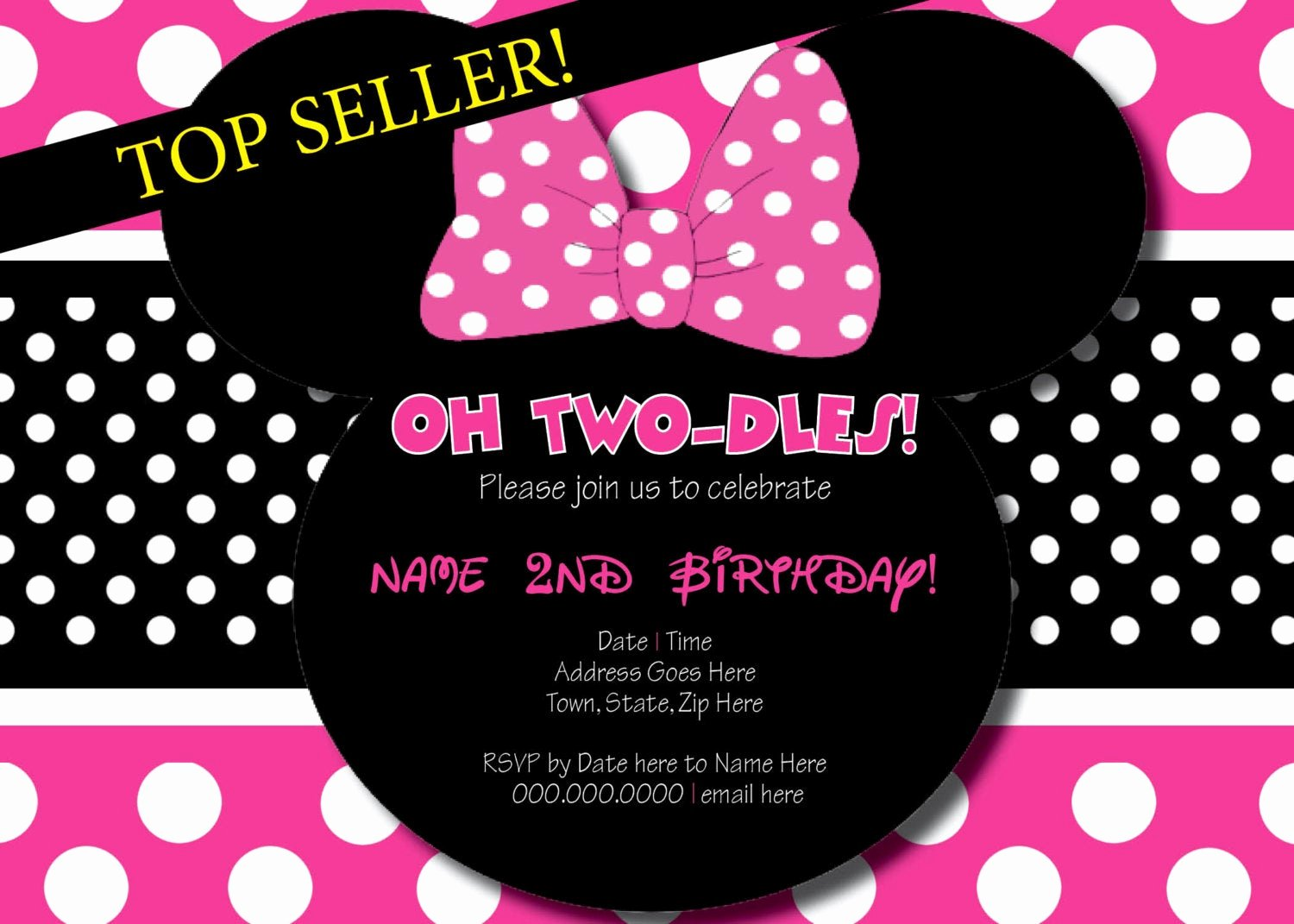 Minnie Mouse Birthday Invitations Elegant Oh Two Dles Minnie Mouse Birthday Invitation Printing