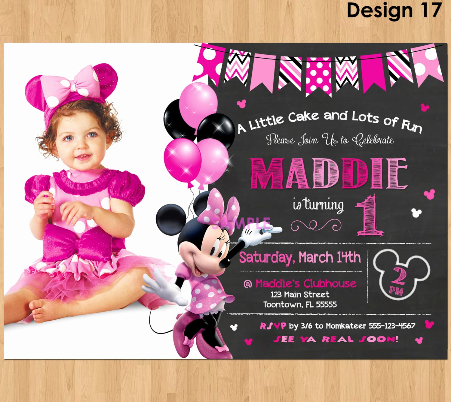 Minnie Mouse Birthday Invitations Fresh Minnie Mouse Invitation Minnie Mouse 1st Birthday First Bday