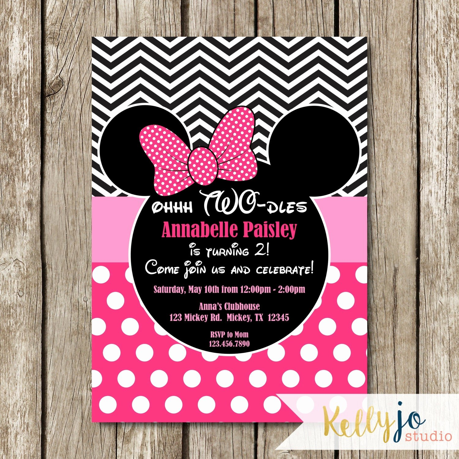Minnie Mouse Birthday Invitations Lovely Pink Minnie Mouse Oh Two Dles Birthday Invites Pink Minnie