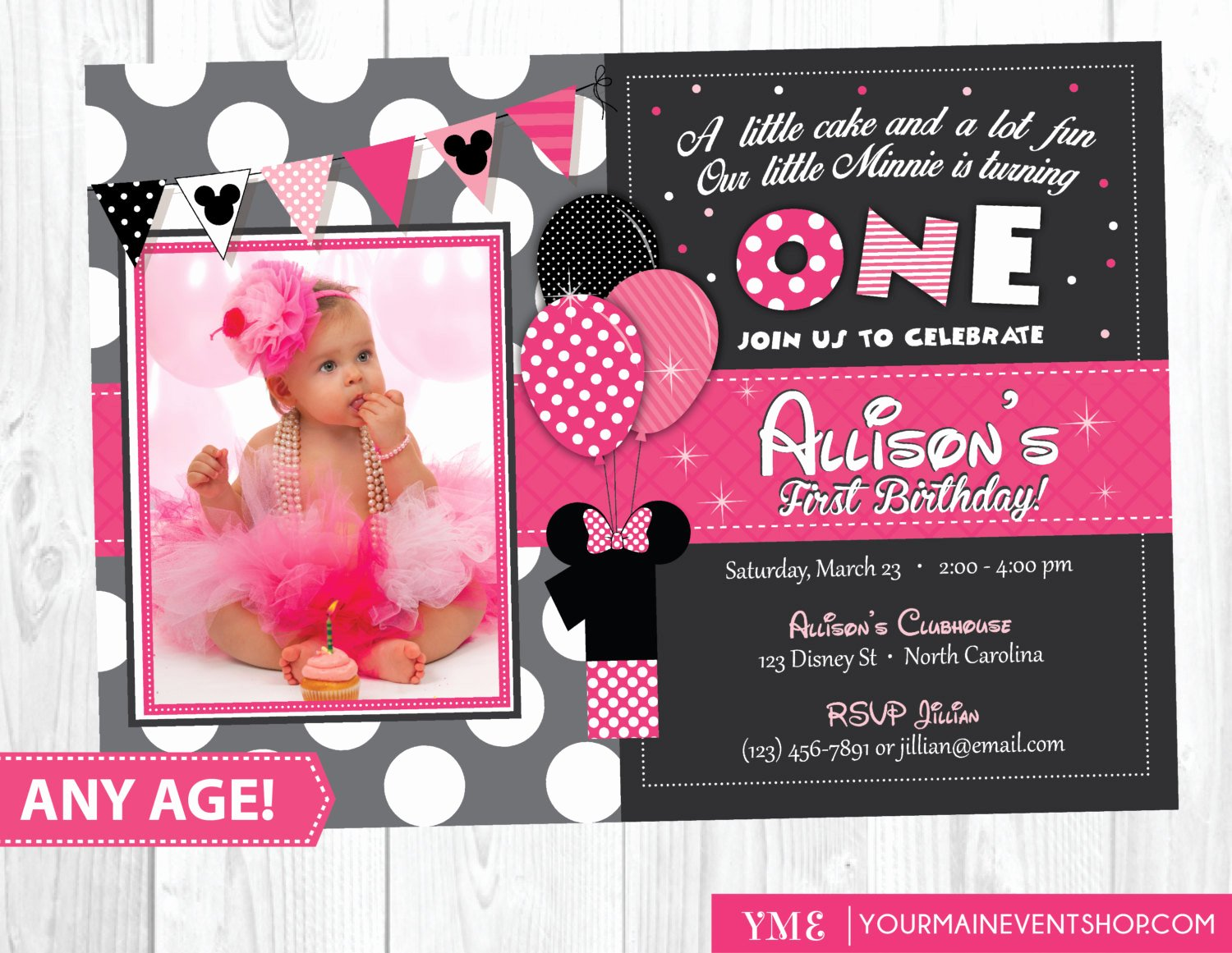 minnie mouse birthday invitation minnie