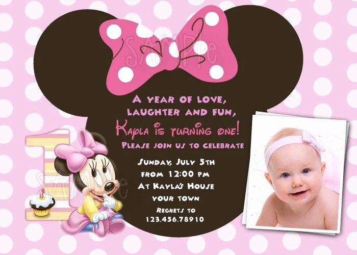 Minnie Mouse Birthday Invitations Unique Free Download Minnie Mouse 1st Birthday Invitations