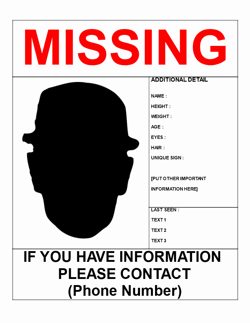 Missing Person Poster Template Awesome Missing Person Template Letter Size