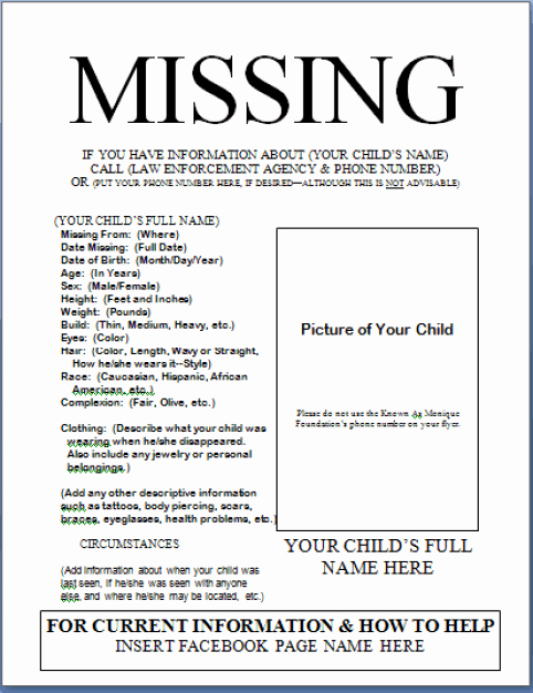 Missing Person Poster Template Elegant 21 Free Missing Poster Word Excel formats