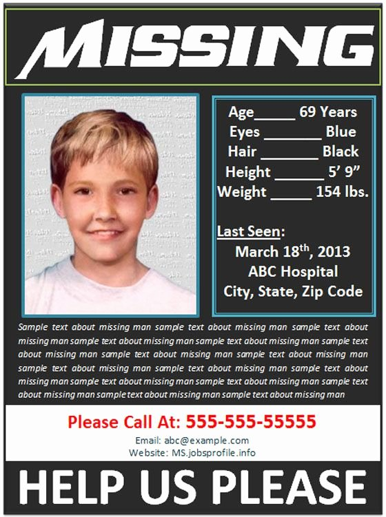 Missing Person Poster Template Inspirational Missing Person Poster