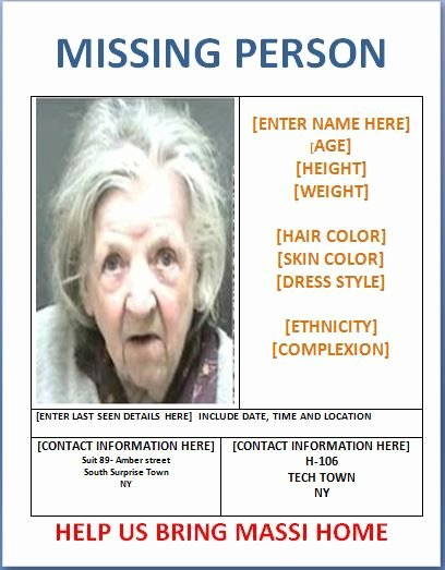 Missing Person Poster Template Inspirational Missing Person Poster Template Templates