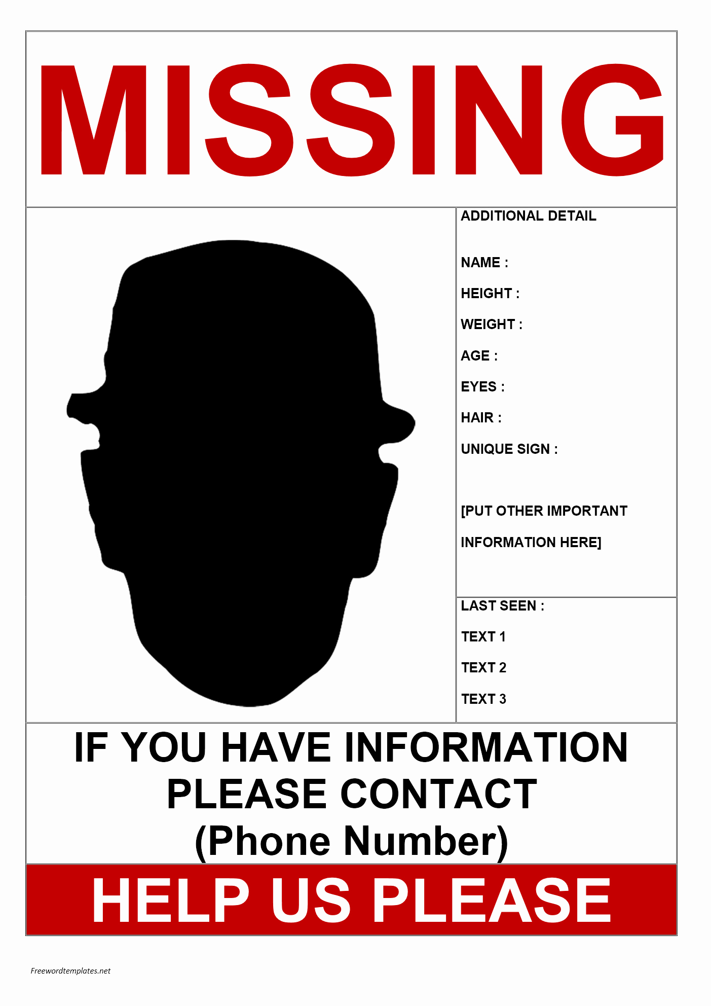 Missing Person Poster Template Unique Missing Person Poster Template