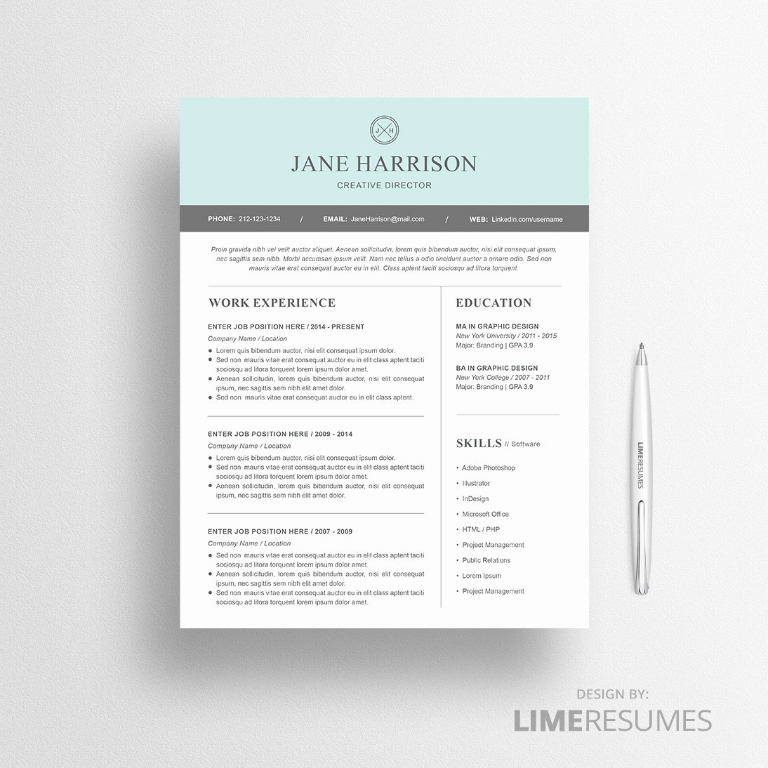 Modern Resume Template Word Awesome Modern Resume Template for Microsoft Word Limeresumes