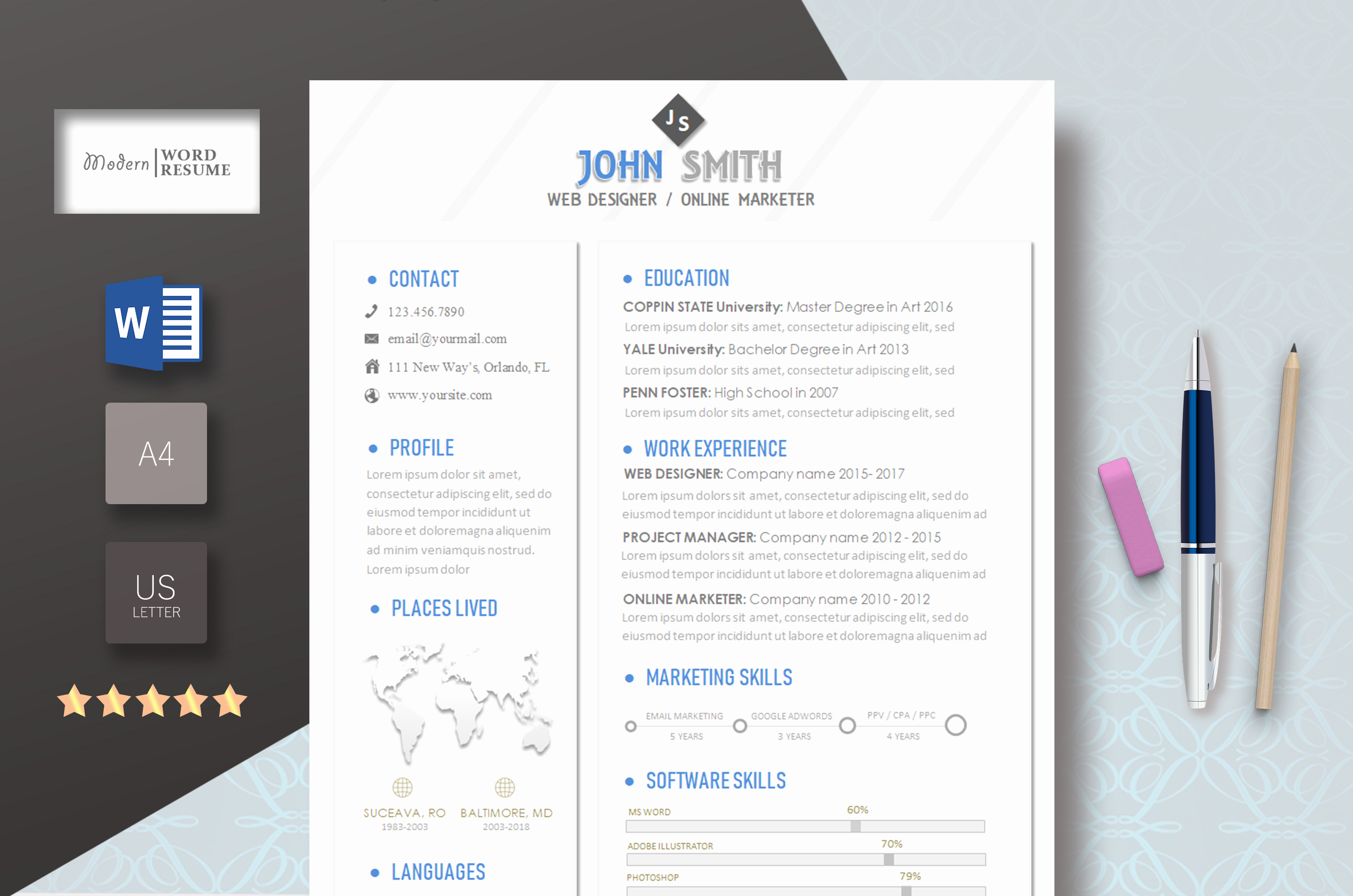Modern Resume Template Word Beautiful Flat Professional & Modern Resume Template for Word