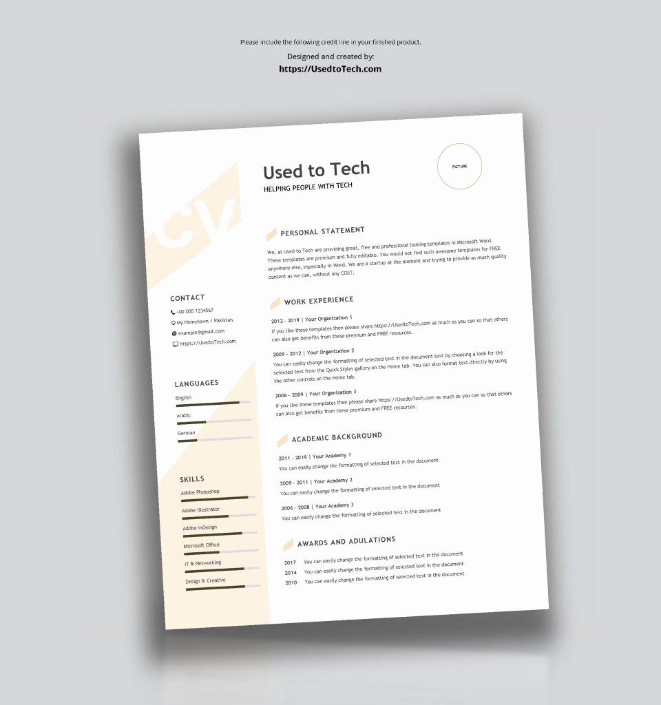 Modern Resume Template Word Best Of Modern Resume Template In Word Free Used to Tech