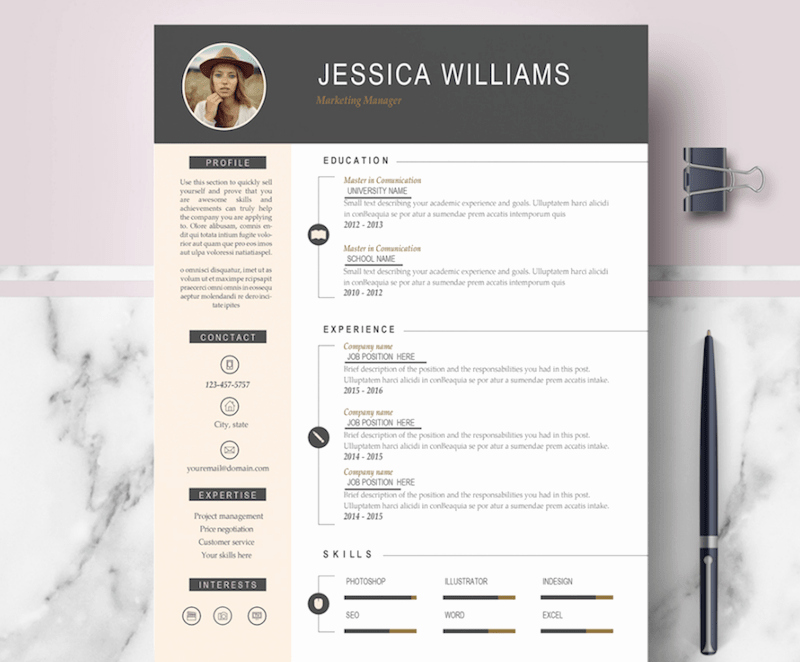 Modern Resume Template Word Elegant 65 Eye Catching Cv Templates for Ms Word