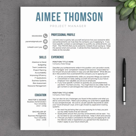 Modern Resume Template Word Elegant Modern Resume Template for Word 1 and 2 Page Resume