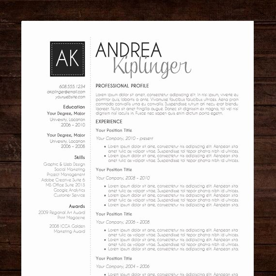 Modern Resume Template Word Elegant Resume Template Cv Template Word for Mac or Pc