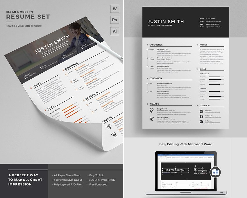 Modern Resume Template Word Fresh 25 Professional Ms Word Resume Templates with Simple