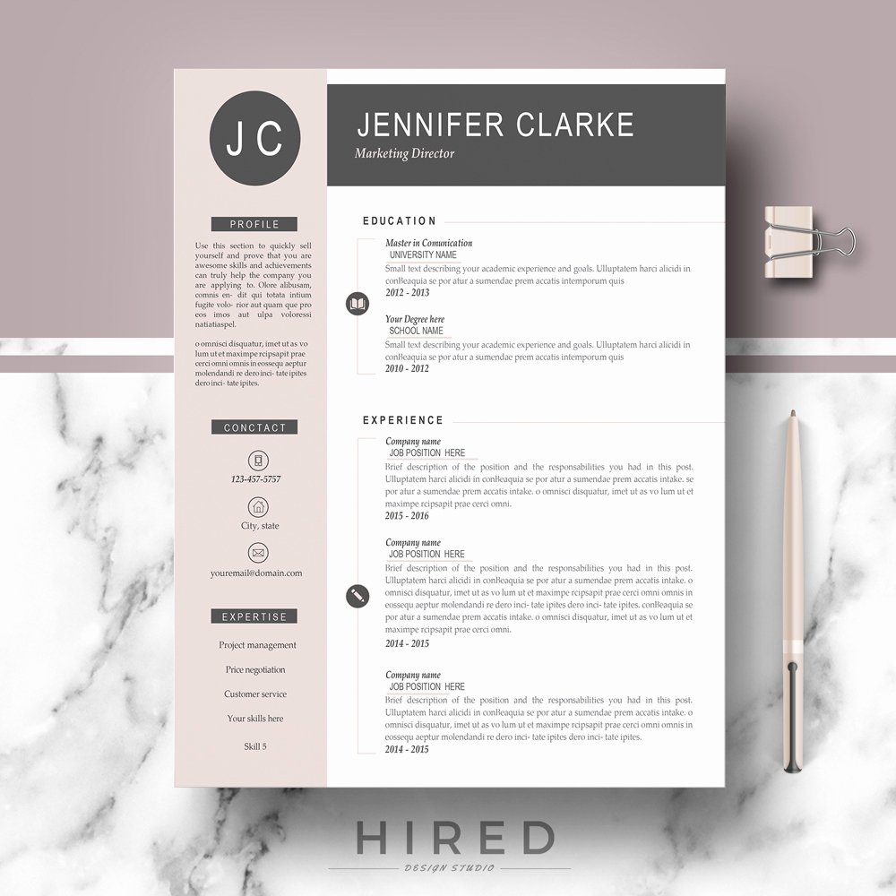 Modern Resume Template Word Inspirational Hired Design Studio
