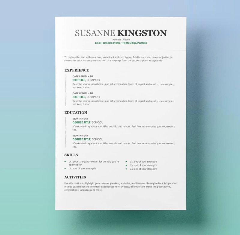 Modern Resume Template Word New 15 Resume Templates for Word Free to Download