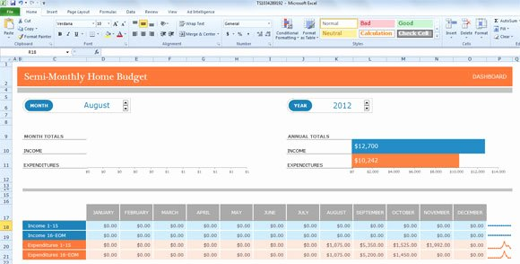 Monthly Budget Excel Spreadsheet Template Fresh Semi Monthly Bud Template for Excel 2013
