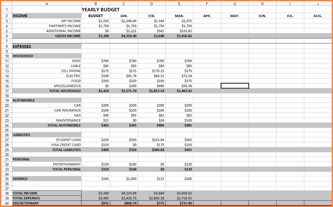 Monthly Budget Excel Spreadsheet Template New 10 Monthly Bill Spreadsheet Template