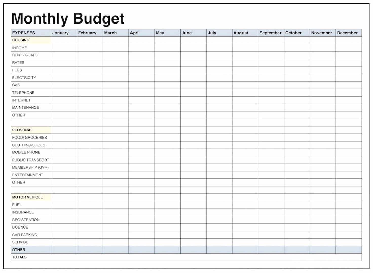 Monthly Budget Excel Spreadsheet Template New Blank Monthly Bud Template Pdf