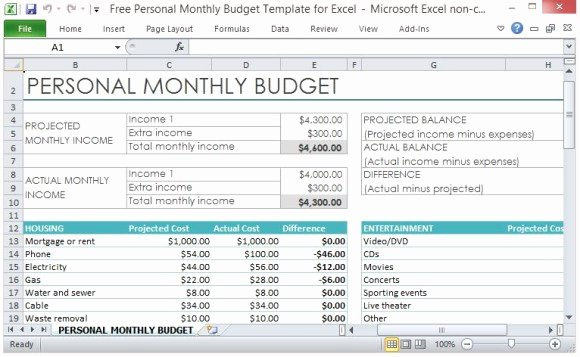 Monthly Budget Planner Template Inspirational Free Personal Monthly Bud Template for Excel