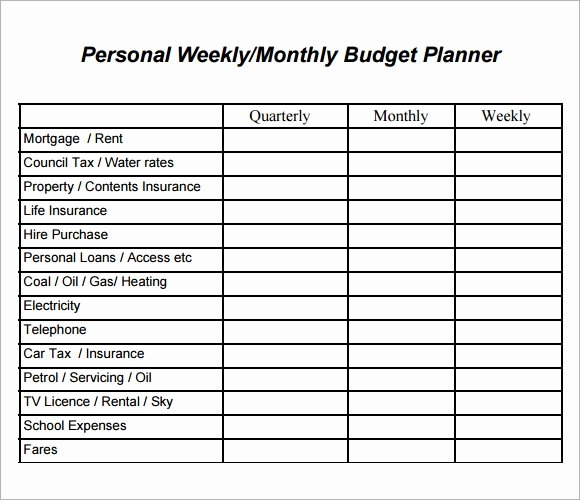 Monthly Budget Planner Template Lovely Free 10 Weekly Bud Samples In Google Docs