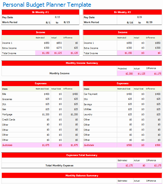 Monthly Budget Planner Template New Bi Weekly Personal Bud Planner Template