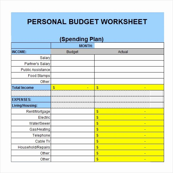 Monthly Budget Template Excel Elegant 6 Sample Personal Bud Documents In Pdf Word Excel
