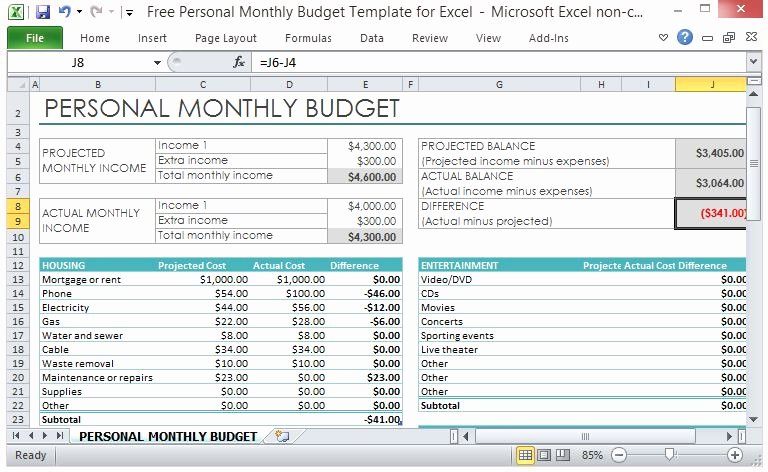 Monthly Budget Template Excel Lovely Free Personal Monthly Bud Template for Excel