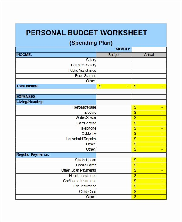 Monthly Budget Template Excel New Personal Monthly Bud In E Template Excel Monthly