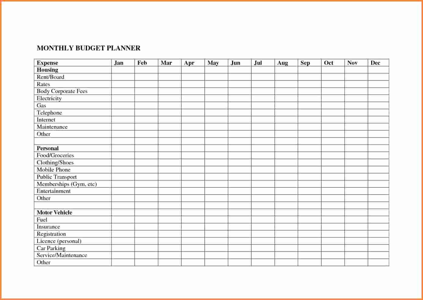 Monthly Budget Worksheet Excel Elegant 10 Monthly Bud Planner Spreadsheet