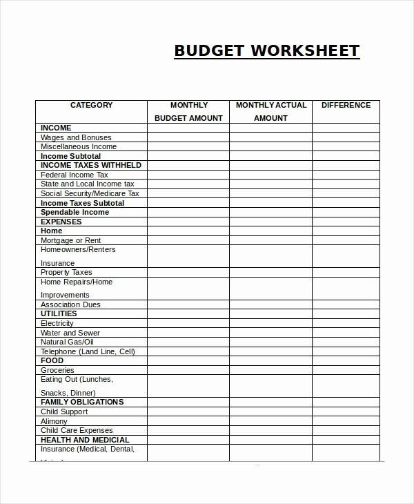 Monthly Budget Worksheet Pdf Awesome Monthly Bud Worksheet Simple Monthly Bud Template