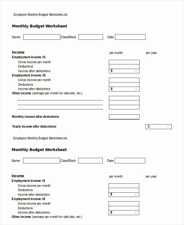Monthly Budget Worksheet Pdf Best Of 17 Simple Monthly Bud Worksheets Word Pdf Excel