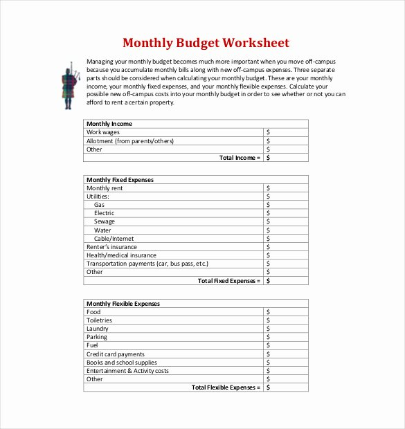 Monthly Budget Worksheet Pdf Best Of 22 Monthly Bud Templates Word Pdf Excel