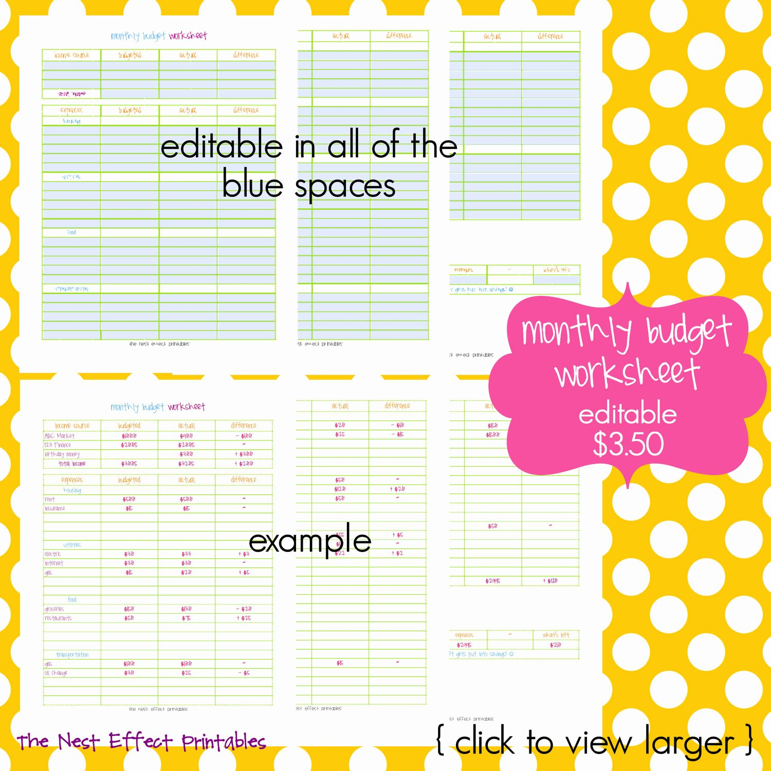 Monthly Budget Worksheet Pdf Fresh Monthly Bud Worksheet Editable Fillable Pdf by