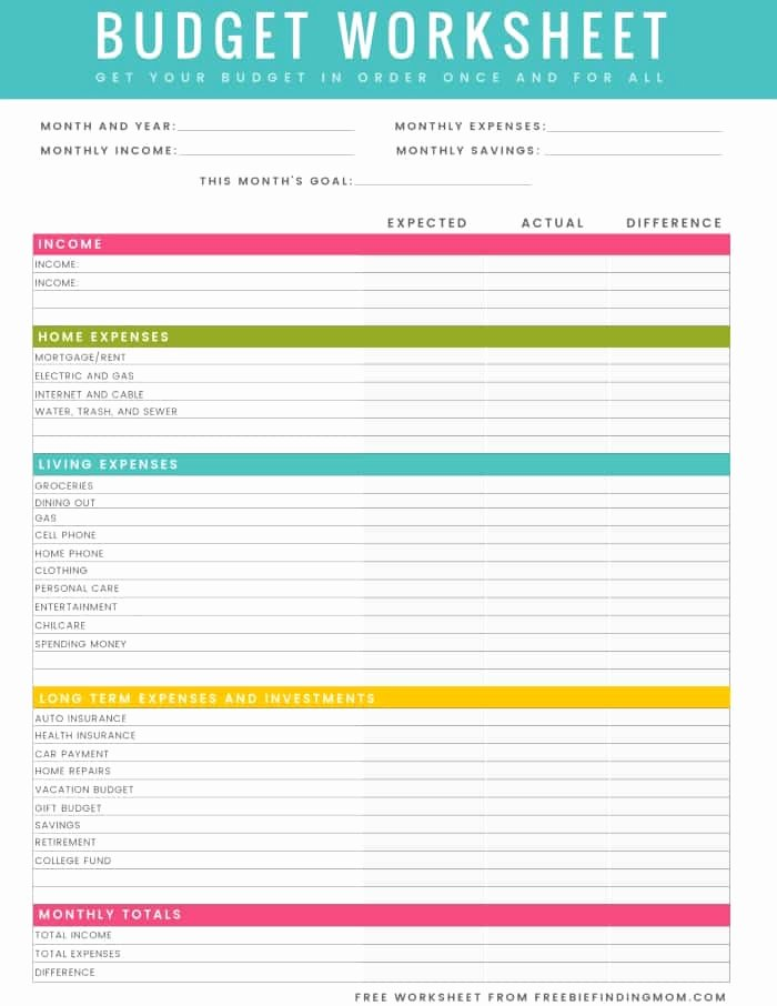 Monthly Budget Worksheet Pdf Lovely Free Printable Household Bud Worksheet