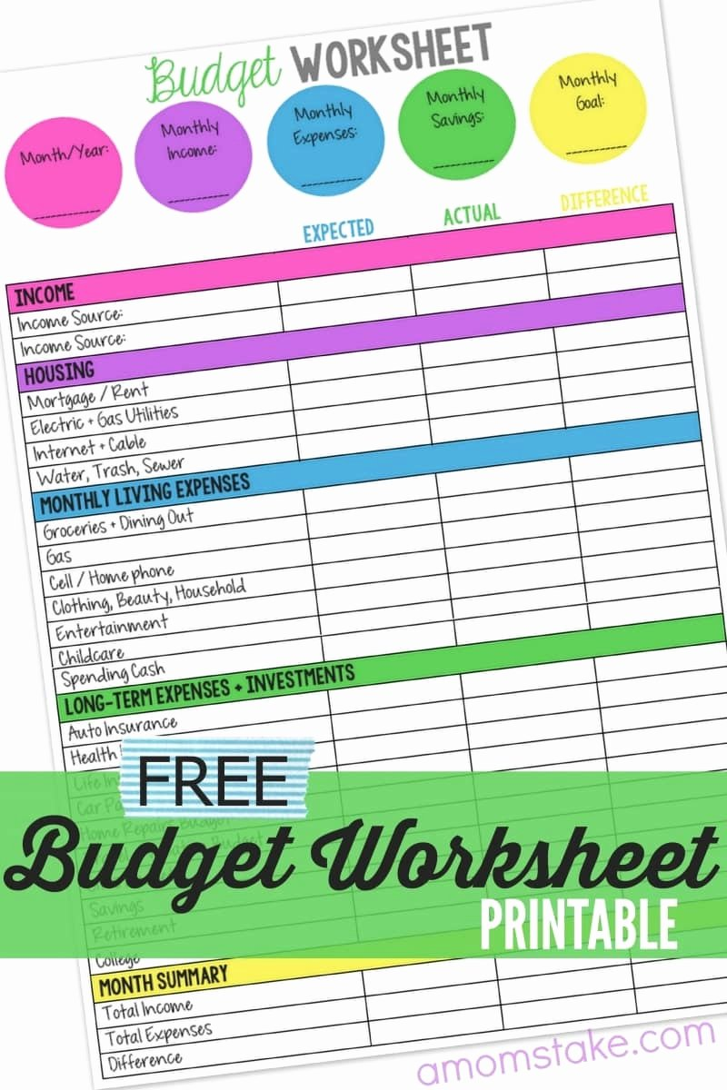 Monthly Budget Worksheet Printable Best Of Family Bud Worksheet A Mom S Take
