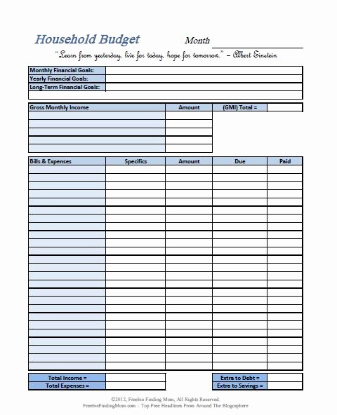 Monthly Budget Worksheet Printable Luxury Free Printable Bud Worksheets – Download or Print