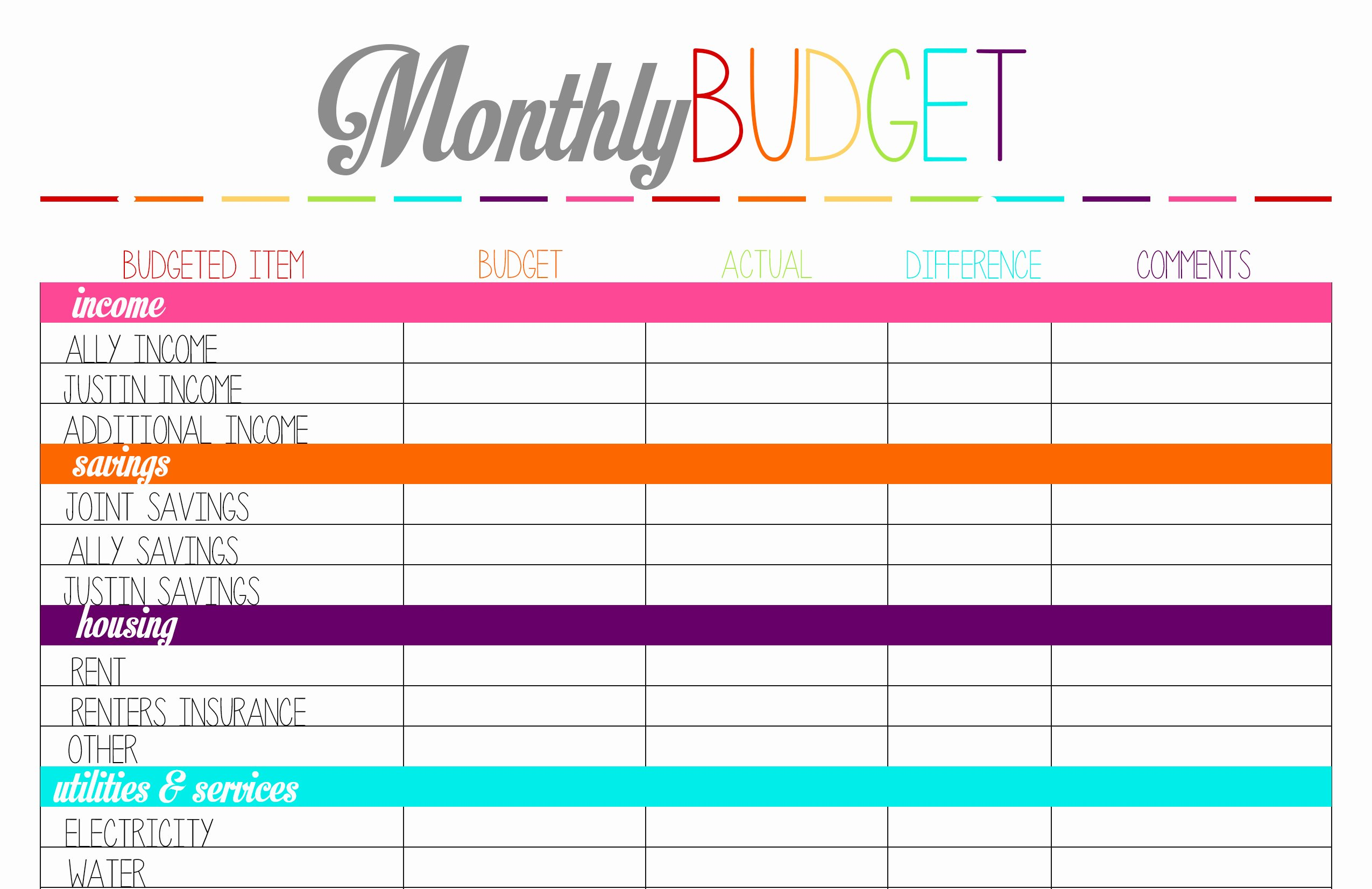 Monthly Budget Worksheet Printable Unique top 5 Posts Of 2014 – Ally Jean Blog