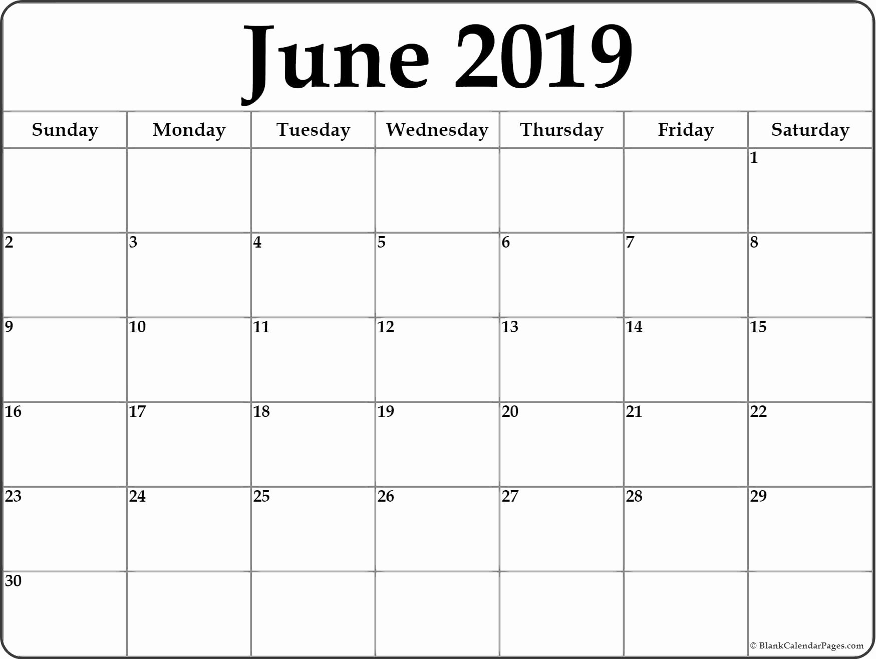 Monthly Calendar Template 2019 Awesome June 2019 Blank Calendar Templates