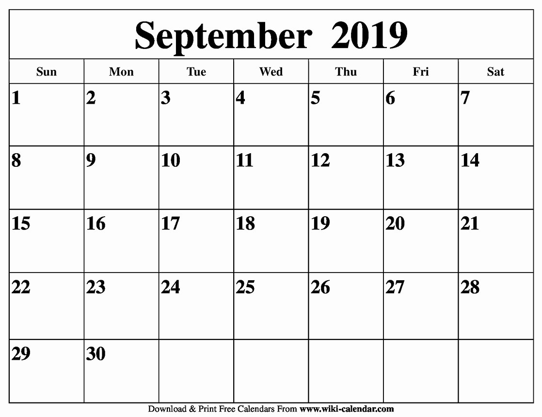 Monthly Calendar Template 2019 Beautiful Free Printable September 2019 Calendar