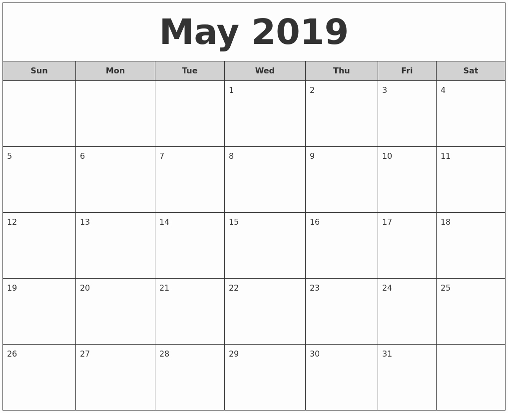 Monthly Calendar Template 2019 Beautiful May 2019 Weekly Calendar – Printable Blank Templates