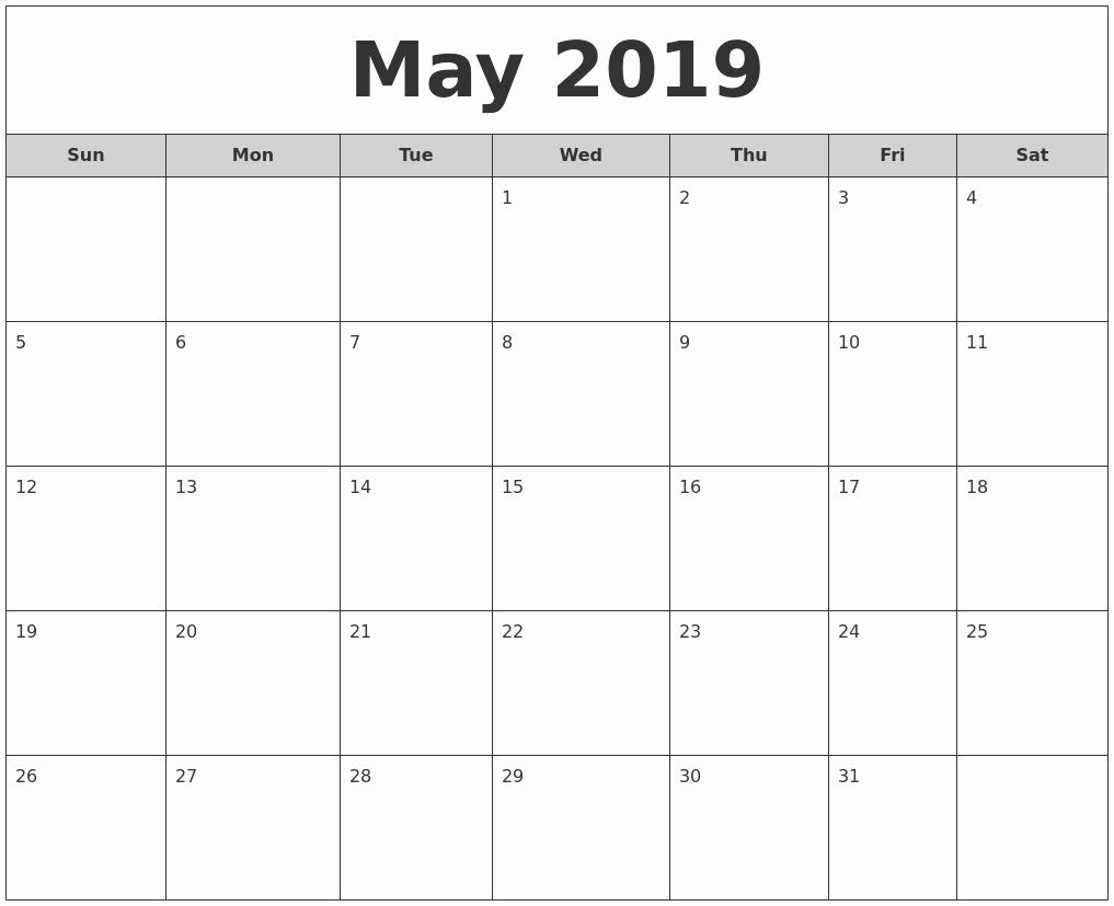 Monthly Calendar Template 2019 Beautiful May 2019 Weekly Calendar – Printable Blank Templates
