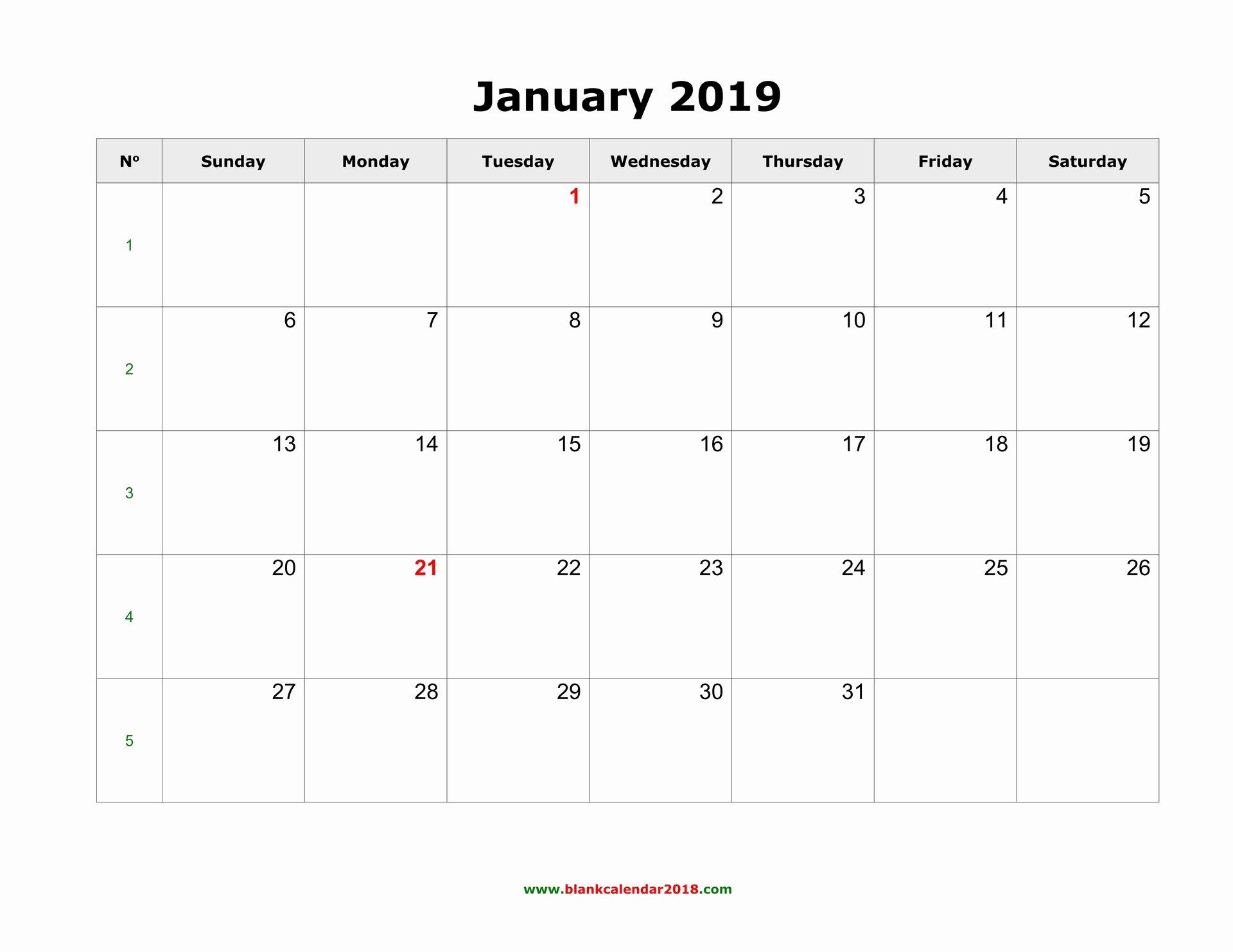 Monthly Calendar Template 2019 Elegant Blank Calendar 2019