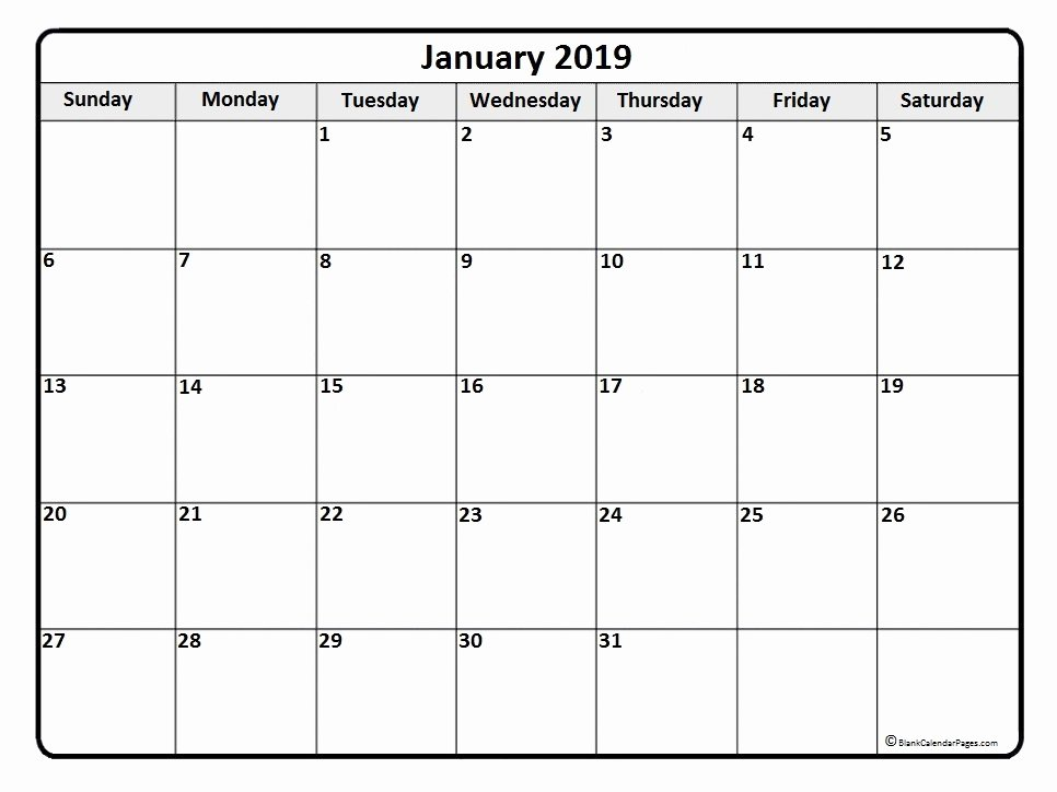 Monthly Calendar Template 2019 Elegant January 2019 Calendar