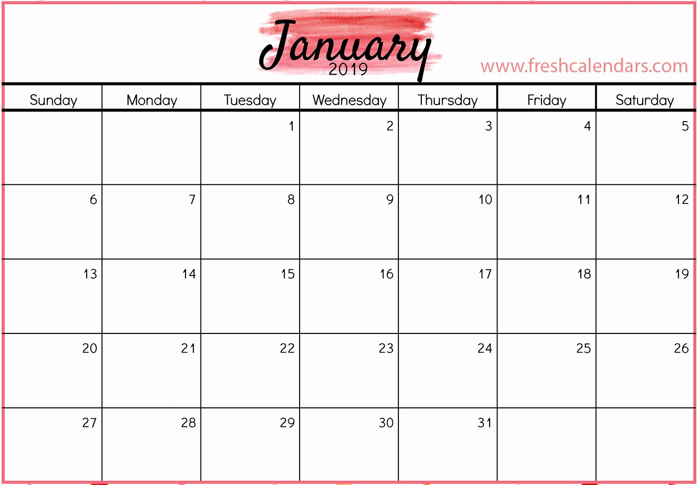 Monthly Calendar Template 2019 Elegant January 2019 Calendar Printable Fresh Calendars