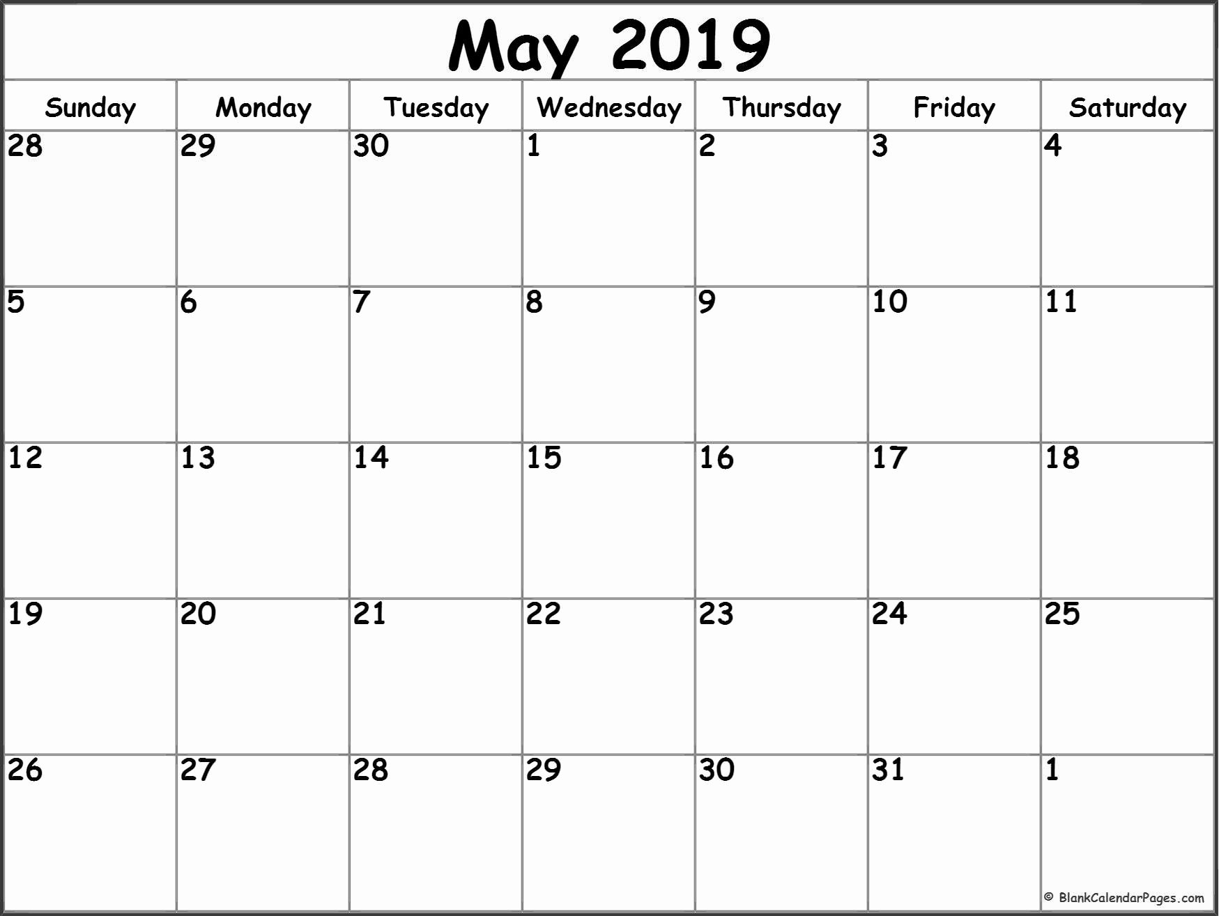 Monthly Calendar Template 2019 Elegant May 2019 Blank Calendar Templates